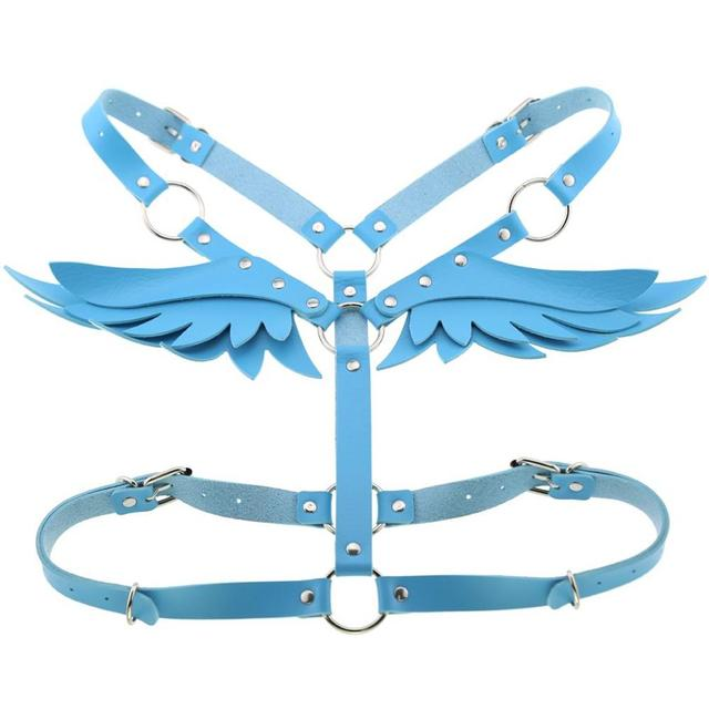 Goth Punk Wings Leather harness  3