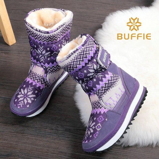 Сапоги ботинки женщин водонепроницаемый зимняя обувь снегоступы плюшевые теплые меховые противоскользящие подошва теплые ботинки бренд обуви стиль мода обувь