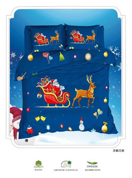 Christmas Bedding Set Santa Claus elk Printed blue Bed Duvet Cover with Pillowcase Home Textiles Queen Sizes 4pcs