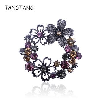 Czarny ton kolorowy Rhinestone wianek broszka z kwiatem Pin klasyczne popularne kobiety szalik biżuteria szpilki wspaniały bukiet pozycja BH8419 tanie i dobre opinie Moda Broszki Ze stopu cynku ROUND TANGTANG Klasyczny 5 5cm