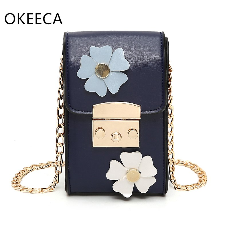 OKEECA Fashion Flower Women Phone Bag for iPhone Xiaomi Huawei Single Shoulder Same as Superstar 2017