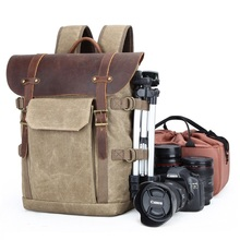 YUPINXUAN High Quality Waxed Canvas Leather Backpacks Vintage Camera Backpack Retro DSLR Traveling Rucksacks Fashion Daypacks