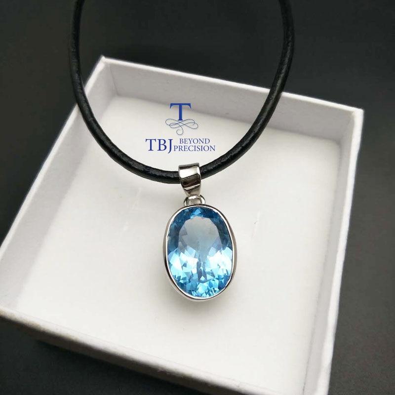 TBJ ,Big Oval cut 11 carat Sky blue topaz ov12*16 pendants,Simple and valuable design,Big natural gemstone pendants with cord hattie big sky