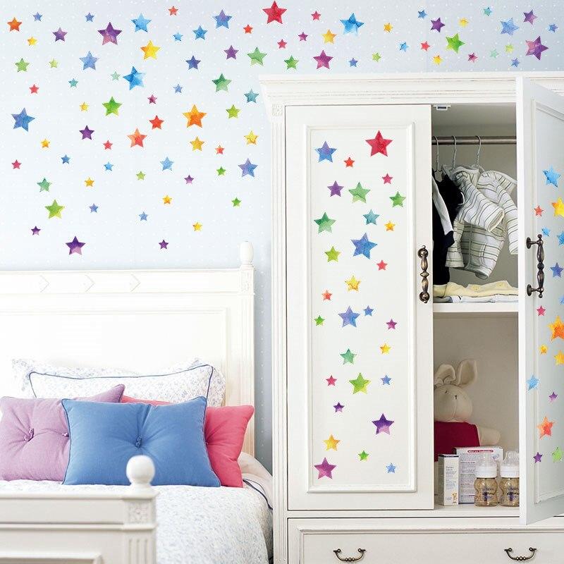 Цветной звезды Наклейки на стену Домашний Декор Гостиная Спальня вход шкаф 3D Стикеры де ...