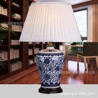 Новое поступление китайский стиль винтаж синий и белый фарфор настольная лампа для постели гостиная украшения A114