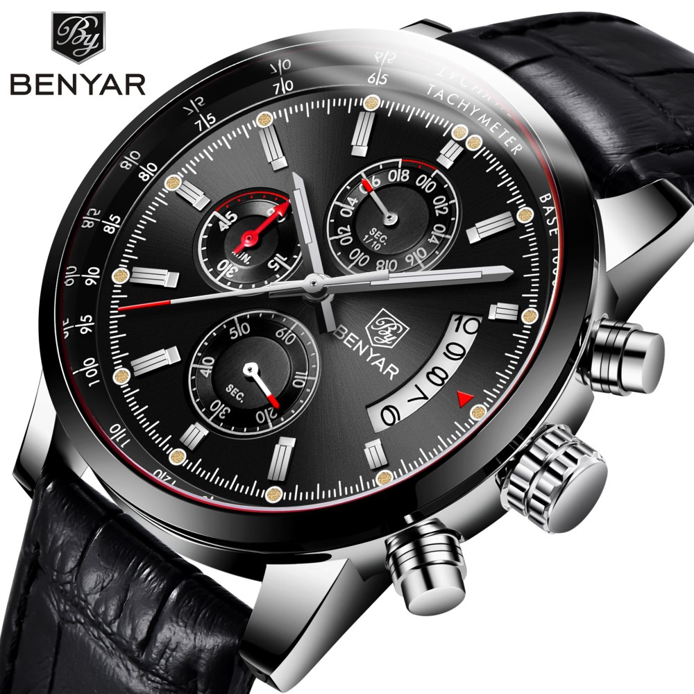 Casual Fashion Men Watch 2018 New BENYAR Top Luxury Brand Business Quartz Sports Chronograph Leather Relogio Masculino