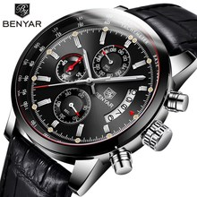 лучшая цена Casual Fashion Men Watch 2018 New BENYAR Top Luxury Brand Men Business Quartz Sports Chronograph Leather Watch Relogio Masculino