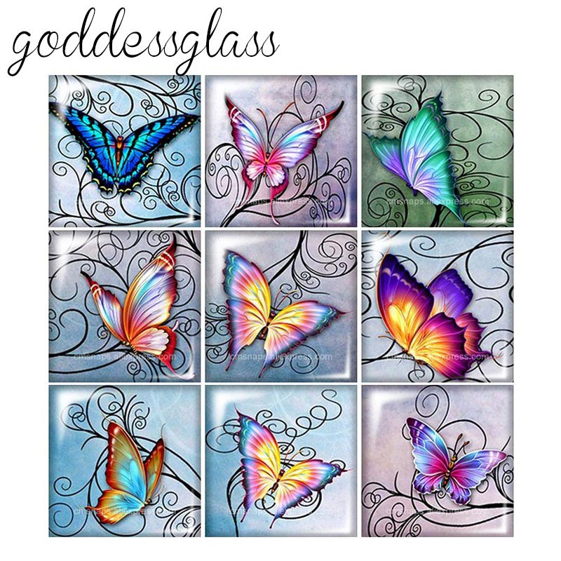 Beauty New Butterfly Flowers Patterns Vintage 12mm/20mm/25mm/30mm Square Photo Glass Cabochon Demo Flat Back Making Findings