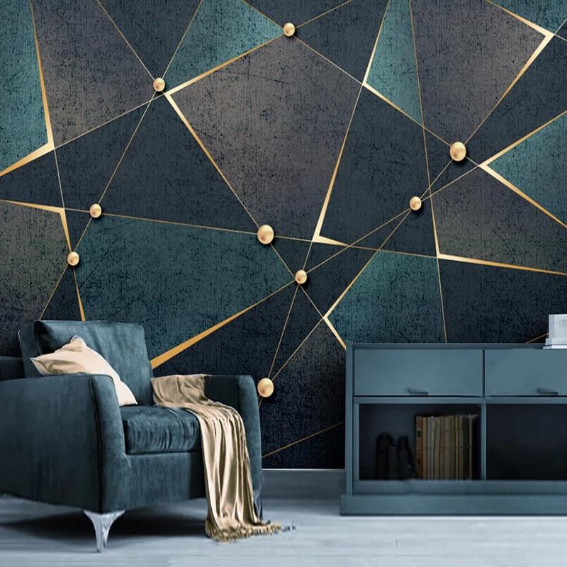 Self-Adhesive Wallpaper Modern Creative 3D Geometric Lines Golden Abstract Waterproof Canvas Photo Murals Living Room 3D Sticker