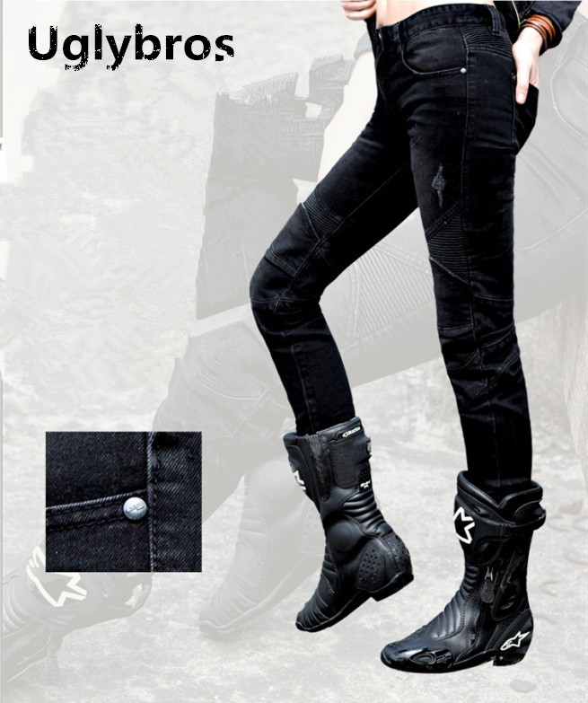 Fashion women Uglybros Featherbed jeans motorcycle protective pants racing jeans black moto pants size 25 26
