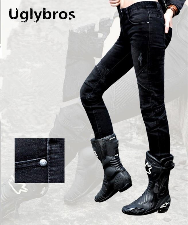 Mode femmes Uglybros plumes jeans moto rcycle pantalons de protection course jeans noir moto pantalon taille: 25 26 27