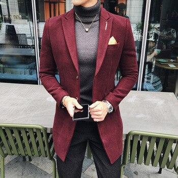 7 Solid Color Long Blazer Men Vintage Retro Slim Fit Blazer Hombre Casual Wool Blend Men Coat High Quality Designer Blazer(S~3XL
