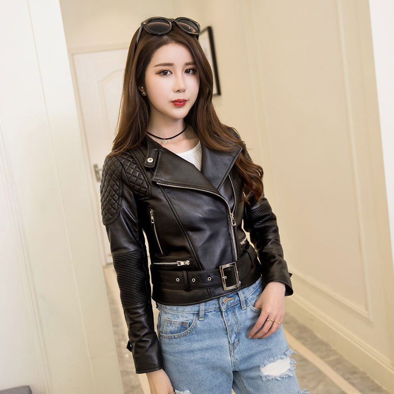 2018 Women Fashion Black Genuine Leather Jacket Real Sheepskin Plus Size XXXL Slim Fit Short Leather Biker Coat FREE SHIPPING