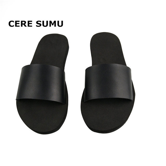 1e8f980c7ae Women Beach Slippers Flip Flops Peep Toe Sandals Flat Slides Sandals Female  Ladies Casual Summer Leather Slippers Shoes Women