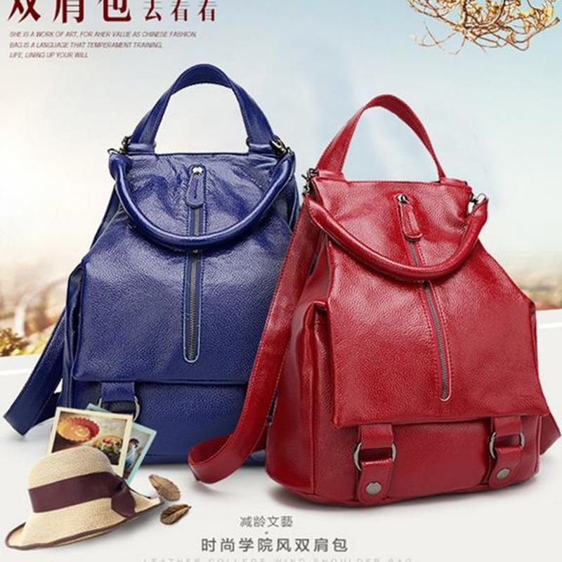 Women Casual School Real Genuine Leather Backpack Ladies Student Travel Backpacks Daypack