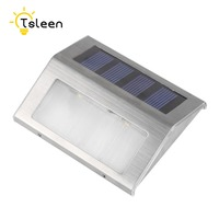 Cheap 2X 4X 8X Stainless Steel Outdoor Wall Stair Lamp Pathway Lamp Solar Energy LED Garden