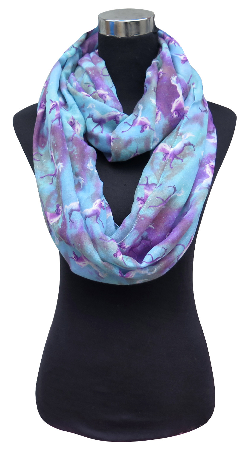10pcs lot Unicorn and Galaxy Print Women s Infinity Loop Scarf Snood Free Shipping