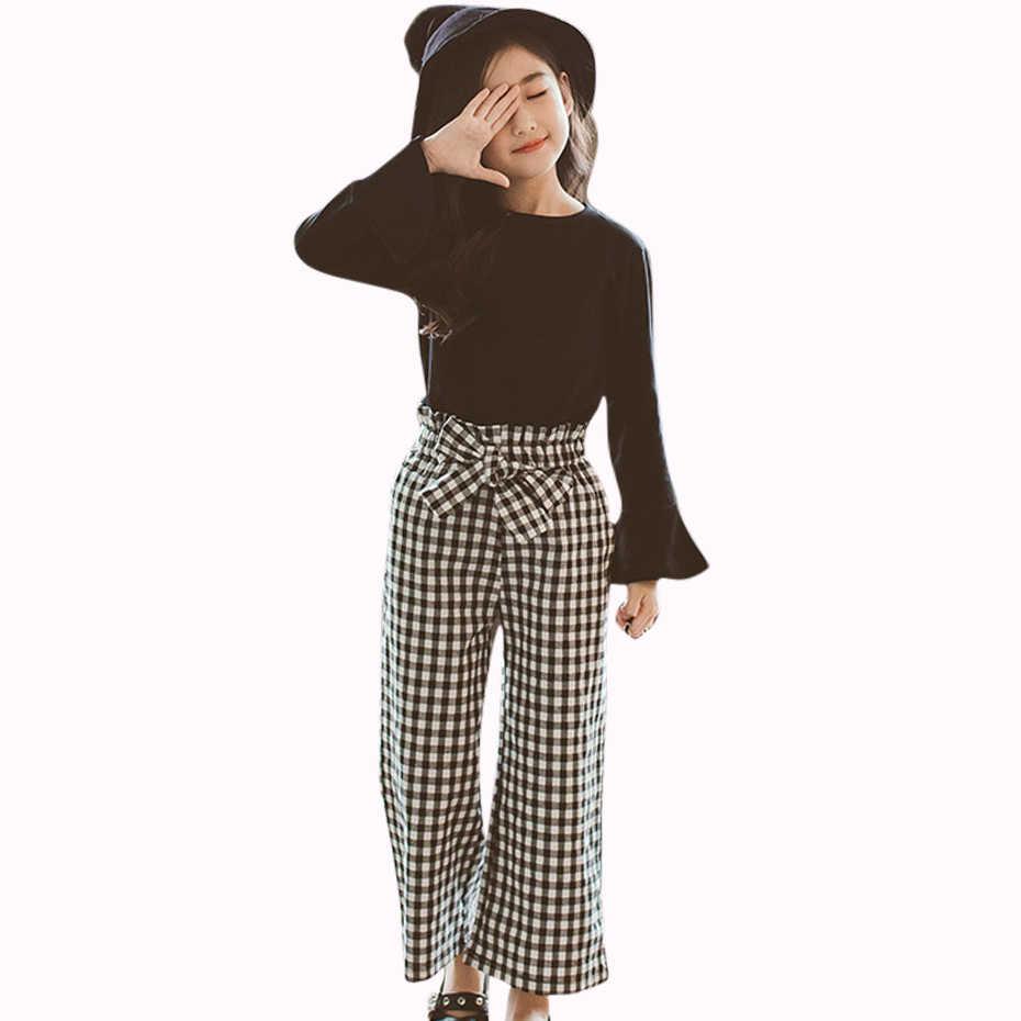 d88abc818febe Комплект одежды для девочек-подростков, весенняя одежда для девочек,  клетчатая одежда для подростков