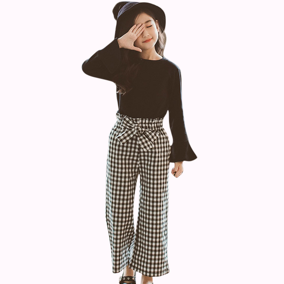 Teenage Ladies Clothes Set Spring Ladies Garments Plaid Clothes For Teenagers 6 8 12 Years Children Garments Lady Eight to 12 Autumn Children Set Clothes Units, Low cost Clothes...