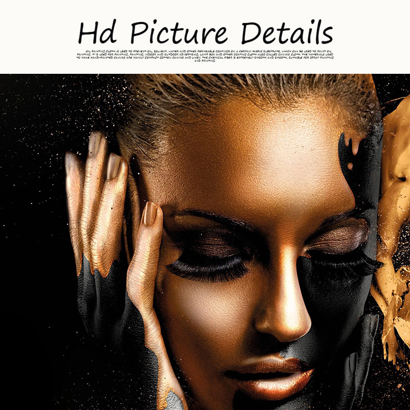 HTB1syj7MMHqK1RjSZFPq6AwapXa8 Black Gold Nude African Art Woman Oil Painting on Canvas Cuadros Posters and Prints Scandinavian Wall Picture for Living Room