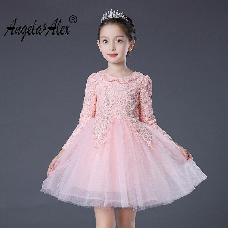 Angela&Alex New Girls Princess Dress Long Sleeve Spring Autumn Beading Ball Gown Dress Children Formal Casual Sweet Outwear часы alex ball