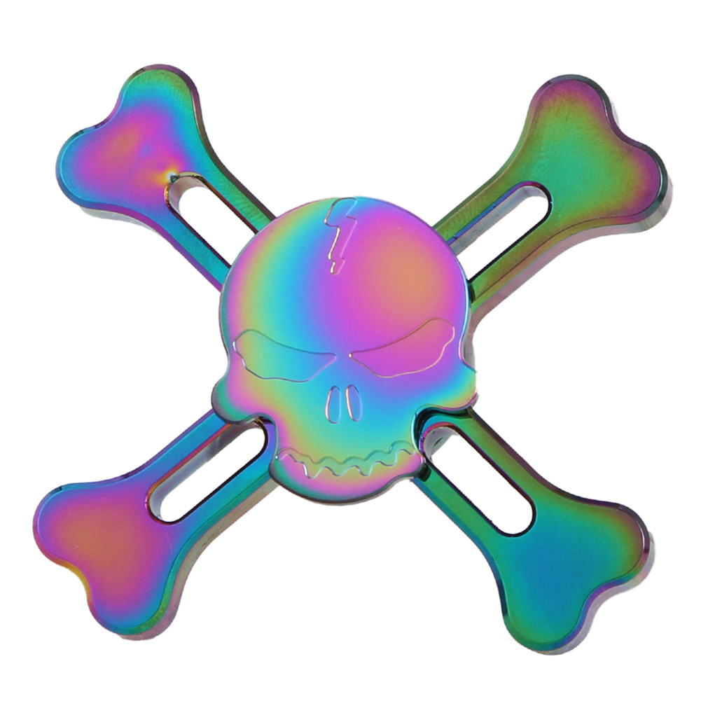 New Original Skull Rainbow Color Fidget Hand Spinner Tri-spinner For Adult To Reduce Pressure An Attractive Funny Toy