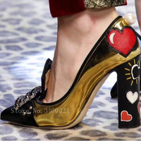 Hot Spring Summer Print Patent Leather Woman Pumps High Square Heels Graffiti Tide Runway Square Crystal Woman Pumps Party Shoes