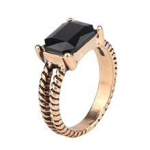 2015 Fshion Black Square Resin Ring For Women Rose Gold Vintage Rings Jewelry Christmas Gifts(China)