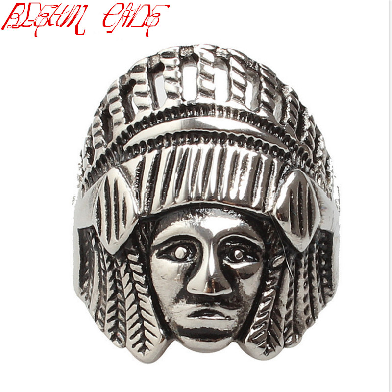 Hiphop/Rock Fashion Vintage Stainless Steel Native Ameran Mens Large Indian Apache Chief Biker Ring Wholesale