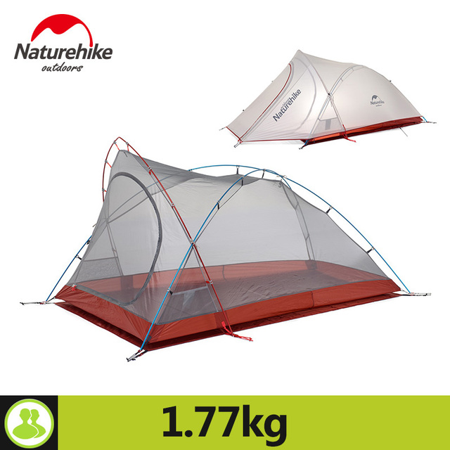 Naturehike Tent Camping 2 Person Rainproof 20D Silicone Double Layer Hiking Beach Picnic Holiday Outdoor 2 Colors Camp Tent 1
