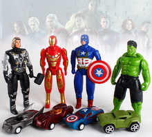 Avengers Hero Mini Anime Figure Toy Cartoon Captain America Hulk Iron Man Thor Display Model Toys Avengers Pull Back Car Kid Toy(China)