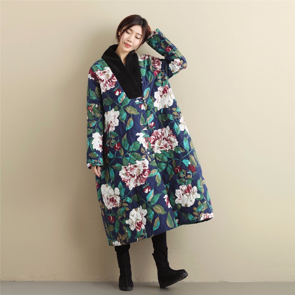 Floral Embroidered Trench Long Parka Coat Cardigan Jackets Ladies Ethnic Coat cn