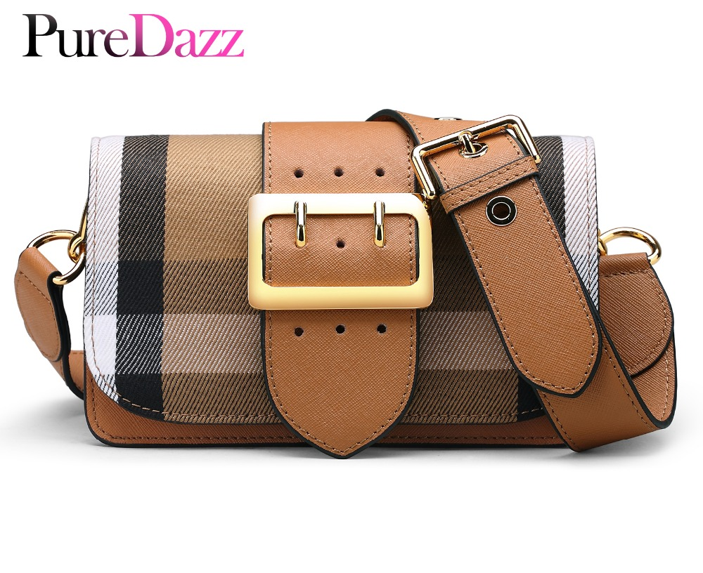 Fashion Genuine Leather Female Grid Shoulder Bag Newest Cow Leather Women Bag High Quality Crossbody Bag Ladies Bag