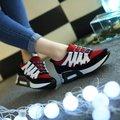 2017 Женщины Мода Повседневная Обувь Бренда Дышащий Повязка Обувь Для Ходьбы Черный Красный Neakers Обувь Бесплатная доставка