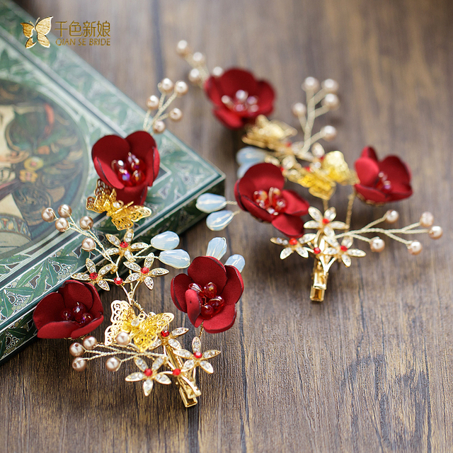 Gorgeous red flower hairgrips crystal hair clips rhinestone hairpins girl jewelry bride pearl headpiece wedding accessories wl08