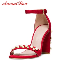 ANMAIRON   Kid Suede  Basic  Casual  Women Sandals Summer 2019 High Heel  Buckle Strap Women Fashion Shoes Size 34-42 LY736