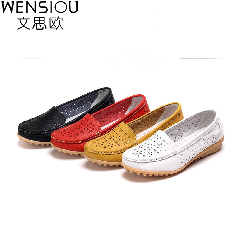 New Arrival 20165 Genuine Leather Flat Women Shoes Breathable Hollow Soft Bottom Wild Summer Style Loafers DT209