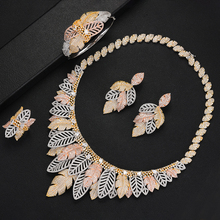 SisCathy Luxury Cubic Zirconia Big Statement Leaf Weaving Jewelry Sets For Women Wedding Party Indian Bridal Jewelry Sets недорого