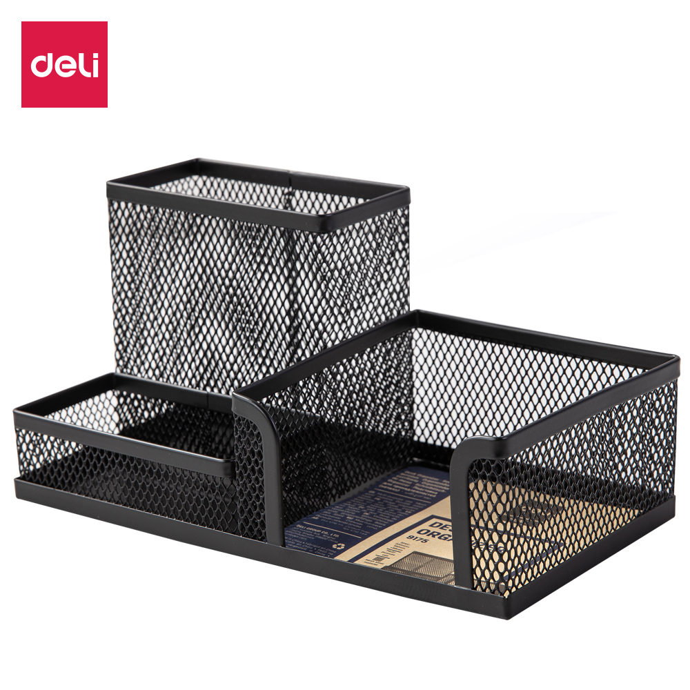 Deli E 9175 Mesh Desk Organizer 3 Comp. Pen Holders  Pen Stand