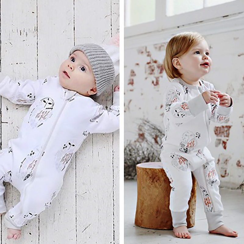 2017 Newborn Girl Boy Clothes Tiny Cottons Baby Romper Jumpsuit Owl Autumn Long Sleeve Rompers Infant Clothing Baby Costume newborn infant baby boy girl cotton romper jumpsuit boys girl angel wings long sleeve rompers white gray autumn clothes outfit