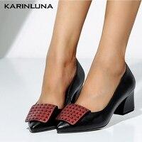 Karinluna New Fashion Large Size 34 43 Genuine Leather Square Heels Shoes Woman Pumps Slip On INS Pumps Woman Shoes