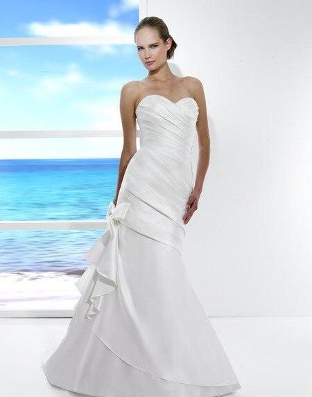 2018 new cinderella Satin mermaid Soft sweetheart open back lace-up Asymmetric waist train rhinestones bride bridesmaid dress