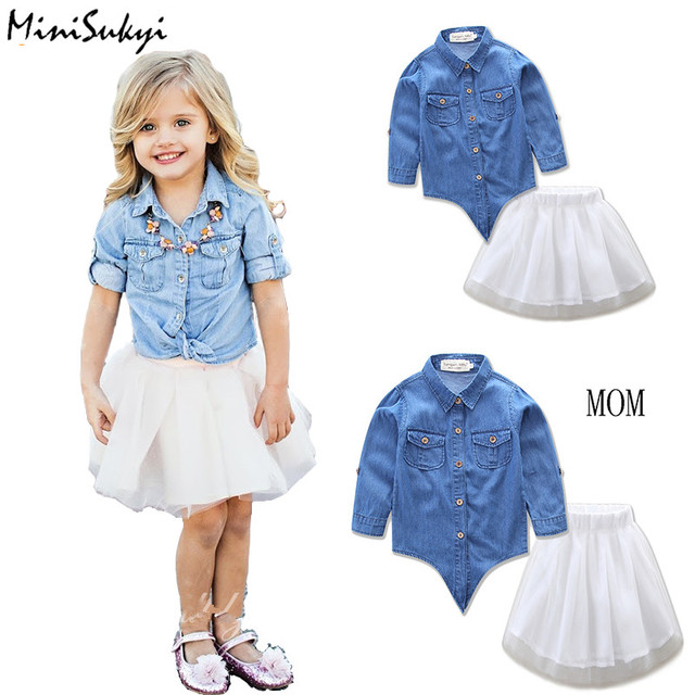 Buy family matching clothes mother for Matching denim shirt and jeans