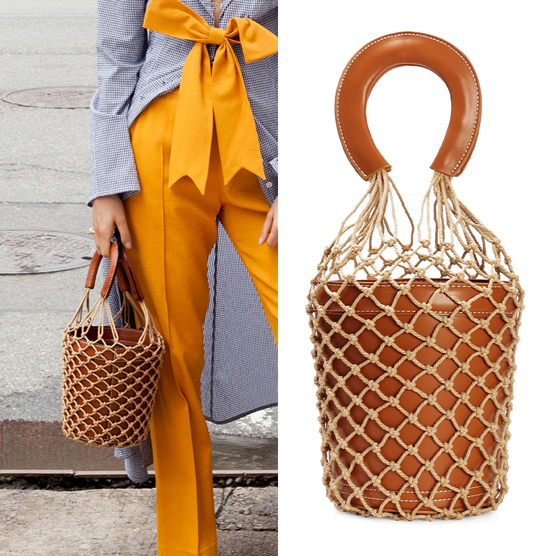 Korean Japanese Ins Popular Hollow Net Bags Chic Women Bucket Tote Bag Barrel Shaped Lady Vintage Handbags Leather Composite Bag bucket shaped skull hand halloween tote bag