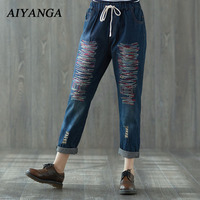 2018 New Women Fashion Embroidery Jeans Harem Pants Elastic Waist Loose Denim Casual Trousers Female Big Size Jeans Spring