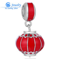 Red Lantern Design Sterling Silver Charm Pendant Red Enamel Bead Charms fit European Bracelet Necklace Jewelry berloque S455H20