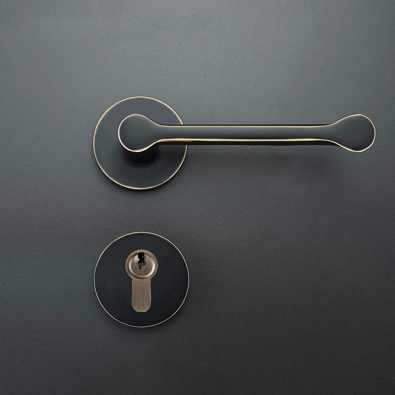 1 set Modernized brass Interior Door Handlesets For 35-50mm Doors Black Simple door Handle with Lock Accessories wig ladies natural color side parting long straight hair human hair wigs with bangs