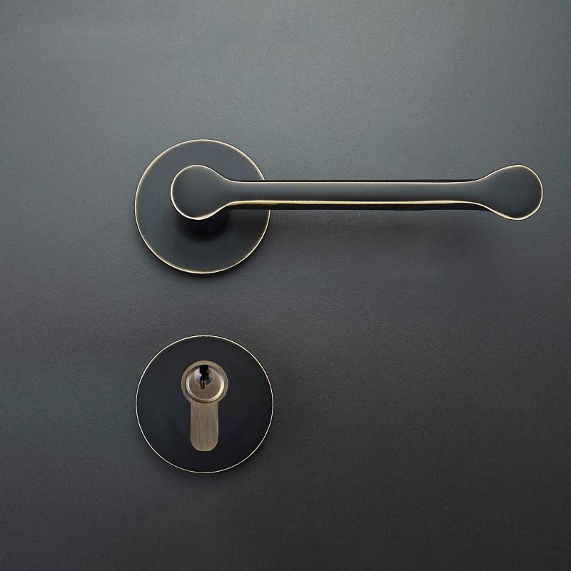 1 set Modernized brass Interior Door Handlesets For 35-50mm Doors Black Simple door Handle with Lock Accessories 3d 3d 3d