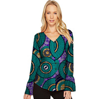 Personal Tailor Women African Print Dashiki Clothes V Neck Long Sleeve Lady Style Shirts Africa Clothing