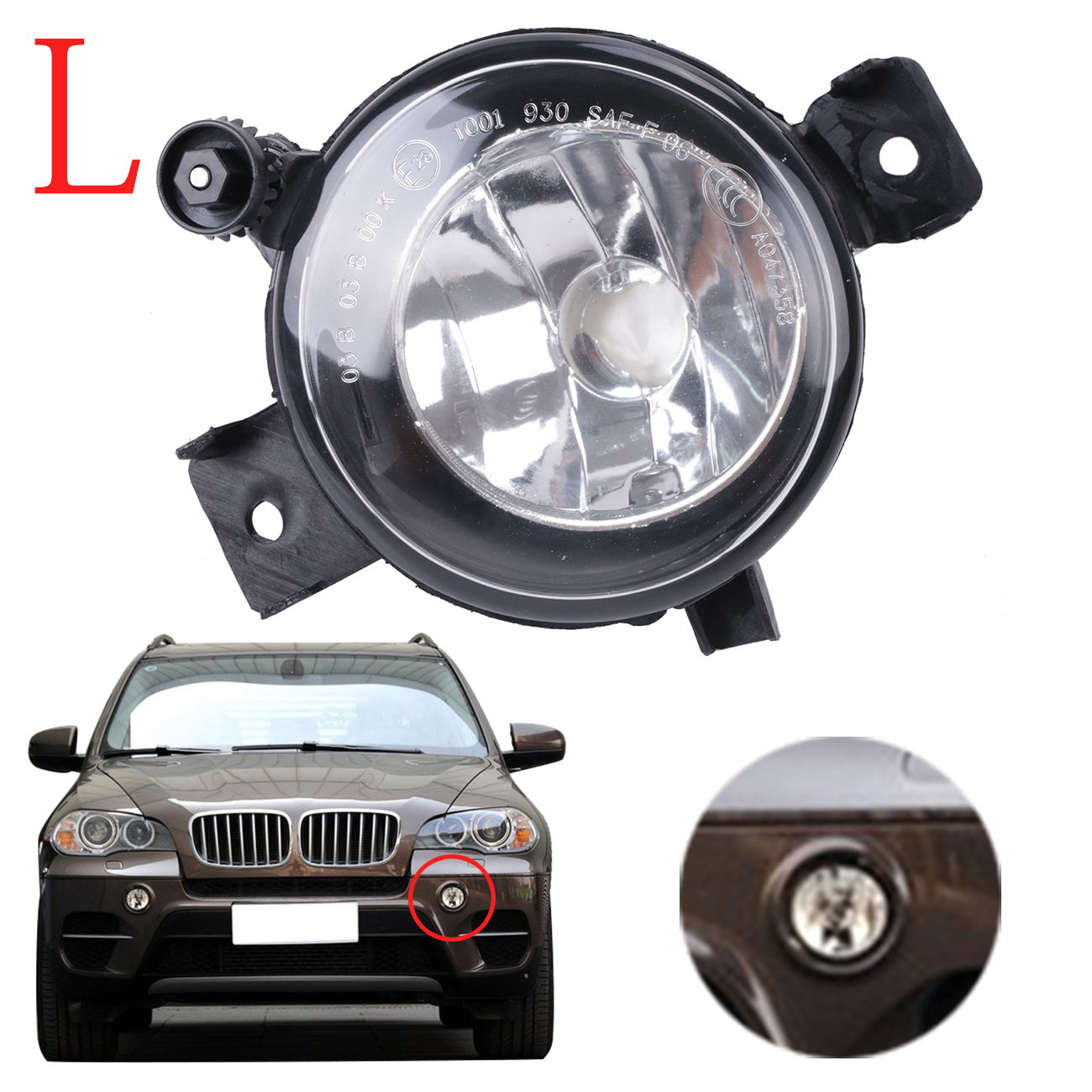 Car-Styling Left Side Bumper Fog Light Clear Glass Lens Driving Lamp Foglamp For BMW X5 E70 2011 2012 2013 63177224643 #W086-L high quality 1pair bumper driving fog light lamp lens for bmw e39 5 series 525i 530i 540i 4door 2001 2002 2003 car accessory q35